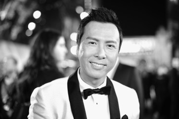 "HOLLYWOOD, CA - DECEMBER 10: (EDITORS NOTE: Image has been shot in black and white. Color version not available.) Actor Donnie Yen attends The World Premiere of Lucasfilm's highly anticipated, first-ever, standalone Star Wars adventure, ""Rogue One: A Star Wars Story"" at the Pantages Theatre on December 10, 2016 in Hollywood, California. (Photo by Charley Gallay/Getty Images for Disney) *** Local Caption *** Donnie Yen"