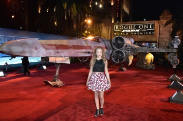 """HOLLYWOOD, CA - DECEMBER 10: Actress Jillian Shea Spaeder attends The World Premiere of Lucasfilm's highly anticipated, first-ever, standalone Star Wars adventure, """"Rogue One: A Star Wars Story"""" at the Pantages Theatre on December 10, 2016 in Hollywood, California. (Photo by Marc Flores/Getty Images for Disney) *** Local Caption *** Jillian Shea Spaeder"""