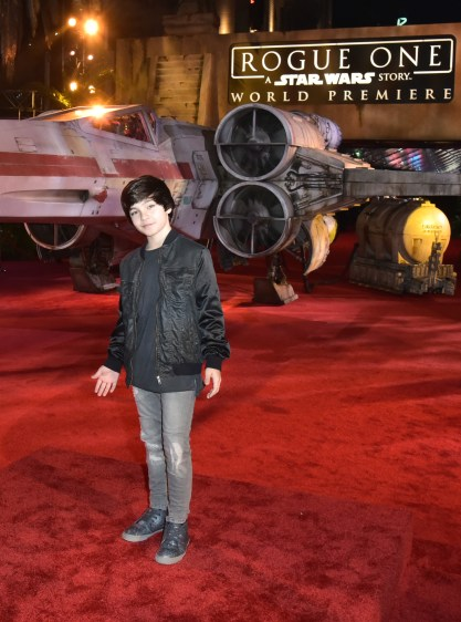 """HOLLYWOOD, CA - DECEMBER 10: Actor Bryce Gheisar attends The World Premiere of Lucasfilm's highly anticipated, first-ever, standalone Star Wars adventure, """"Rogue One: A Star Wars Story"""" at the Pantages Theatre on December 10, 2016 in Hollywood, California. (Photo by Marc Flores/Getty Images for Disney) *** Local Caption *** Bryce Gheisar"""
