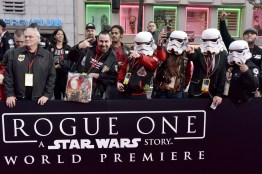 """HOLLYWOOD, CA - DECEMBER 10: A view of the atmosphere at The World Premiere of Lucasfilm's highly anticipated, first-ever, standalone Star Wars adventure, """"Rogue One: A Star Wars Story"""" at the Pantages Theatre on December 10, 2016 in Hollywood, California. (Photo by Marc Flores/Getty Images for Disney)"""
