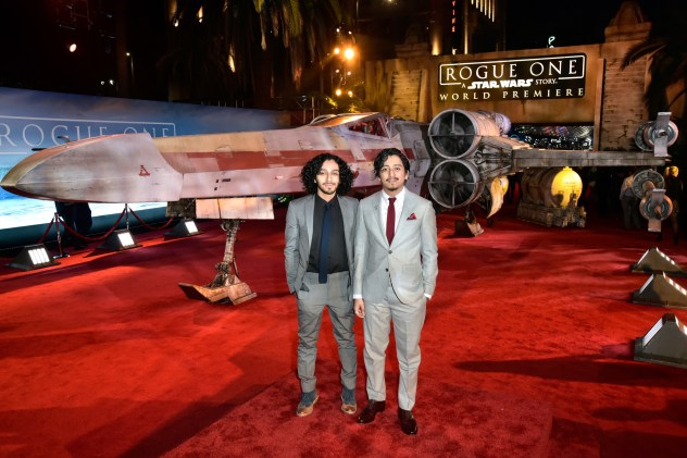"""HOLLYWOOD, CA - DECEMBER 10: Mario Revolori (L) and actor Tony Revolori attend The World Premiere of Lucasfilm's highly anticipated, first-ever, standalone Star Wars adventure, """"Rogue One: A Star Wars Story"""" at the Pantages Theatre on December 10, 2016 in Hollywood, California. (Photo by Marc Flores/Getty Images for Disney) *** Local Caption *** Tony Revolori; Mario Revolori"""