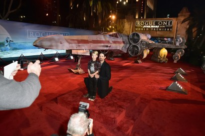 """HOLLYWOOD, CA - DECEMBER 10: Singer Kevin Richardson of the Backstreet Boys (L) and Mason Richardson attend The World Premiere of Lucasfilm's highly anticipated, first-ever, standalone Star Wars adventure, """"Rogue One: A Star Wars Story"""" at the Pantages Theatre on December 10, 2016 in Hollywood, California. (Photo by Marc Flores/Getty Images for Disney) *** Local Caption *** Kevin Richardson; Mason Richardson"""