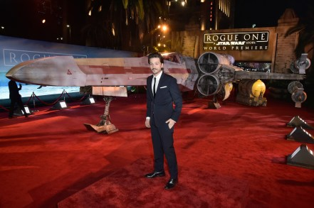 "HOLLYWOOD, CA - DECEMBER 10: Actor Diego Luna attends The World Premiere of Lucasfilm's highly anticipated, first-ever, standalone Star Wars adventure, ""Rogue One: A Star Wars Story"" at the Pantages Theatre on December 10, 2016 in Hollywood, California. (Photo by Marc Flores/Getty Images for Disney) *** Local Caption *** Diego Luna"