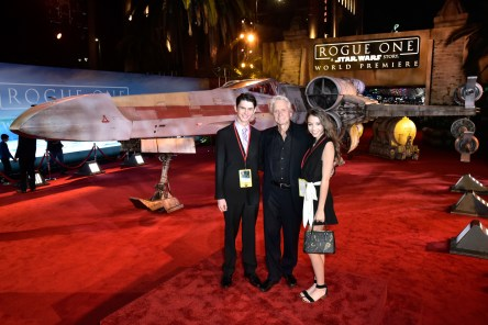 "HOLLYWOOD, CA - DECEMBER 10: (L-R) Dylan Michael Douglas, actor Michael Douglas and Carys Zeta-Douglas attend The World Premiere of Lucasfilm's highly anticipated, first-ever, standalone Star Wars adventure, ""Rogue One: A Star Wars Story"" at the Pantages Theatre on December 10, 2016 in Hollywood, California. (Photo by Marc Flores/Getty Images for Disney) *** Local Caption *** Dylan Michael Douglas; Michael Douglas; Carys Zeta-Douglas"