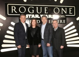"""HOLLYWOOD, CA - DECEMBER 10: (L-R) The Walt Disney Company Chairman and CEO Bob Iger, Producer Kathleen Kennedy, Chairman, The Walt Disney Studios, Alan Horn and Walt Disney Studios President Alan Bergman attend The World Premiere of Lucasfilm's highly anticipated, first-ever, standalone Star Wars adventure, """"Rogue One: A Star Wars Story"""" at the Pantages Theatre on December 10, 2016 in Hollywood, California. (Photo by Jesse Grant/Getty Images for Disney) *** Local Caption *** Bob Iger; Kathleen Kennedy; Alan Horn; Alan Bergman"""