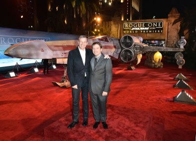 """HOLLYWOOD, CA - DECEMBER 10: The Walt Disney Company Chairman and CEO Bob Iger (L) and Director Gareth Edwards attend The World Premiere of Lucasfilm's highly anticipated, first-ever, standalone Star Wars adventure, """"Rogue One: A Star Wars Story"""" at the Pantages Theatre on December 10, 2016 in Hollywood, California. (Photo by Marc Flores/Getty Images for Disney) *** Local Caption *** Bob Iger; Gareth Edwards"""