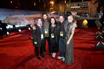 """HOLLYWOOD, CA - DECEMBER 10: Executive producer John Knoll (2nd R) and family attend The World Premiere of Lucasfilm's highly anticipated, first-ever, standalone Star Wars adventure, """"Rogue One: A Star Wars Story"""" at the Pantages Theatre on December 10, 2016 in Hollywood, California. (Photo by Marc Flores/Getty Images for Disney) *** Local Caption *** John Knoll"""