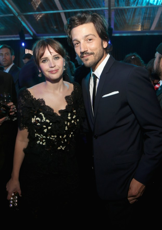 """HOLLYWOOD, CA - DECEMBER 10: Actors Felicity Jones (L) and Diego Luna attend The World Premiere of Lucasfilm's highly anticipated, first-ever, standalone Star Wars adventure, """"Rogue One: A Star Wars Story"""" at the Pantages Theatre on December 10, 2016 in Hollywood, California. (Photo by Jesse Grant/Getty Images for Disney) *** Local Caption *** Felicity Jones; Diego Luna"""