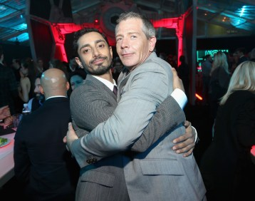 """HOLLYWOOD, CA - DECEMBER 10: Actors Riz Ahmed (L) and Ben Mendelsohn attend The World Premiere of Lucasfilm's highly anticipated, first-ever, standalone Star Wars adventure, """"Rogue One: A Star Wars Story"""" at the Pantages Theatre on December 10, 2016 in Hollywood, California. (Photo by Jesse Grant/Getty Images for Disney) *** Local Caption *** Riz Ahmed; Ben Mendelsohn"""