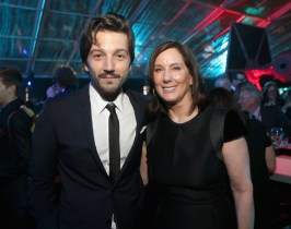 """HOLLYWOOD, CA - DECEMBER 10: Actor Diego Luna (L) and Producer Kathleen Kennedy attend The World Premiere of Lucasfilm's highly anticipated, first-ever, standalone Star Wars adventure, """"Rogue One: A Star Wars Story"""" at the Pantages Theatre on December 10, 2016 in Hollywood, California. (Photo by Jesse Grant/Getty Images for Disney) *** Local Caption *** Diego Luna; Kathleen Kennedy"""