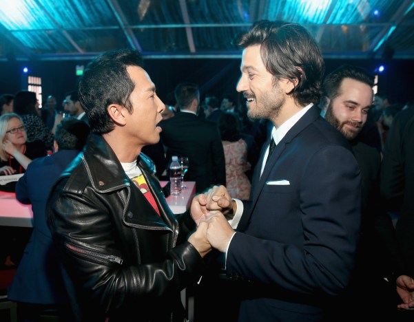 """HOLLYWOOD, CA - DECEMBER 10: Actor Donnie Yen (L) and Diego Luna attend The World Premiere of Lucasfilm's highly anticipated, first-ever, standalone Star Wars adventure, """"Rogue One: A Star Wars Story"""" at the Pantages Theatre on December 10, 2016 in Hollywood, California. (Photo by Jesse Grant/Getty Images for Disney) *** Local Caption *** Donnie Yen; Diego Luna"""