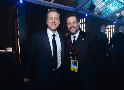 """HOLLYWOOD, CA - DECEMBER 10: Actor Alan Tudyk (L) and composer Michael Giacchino attend The World Premiere of Lucasfilm's highly anticipated, first-ever, standalone Star Wars adventure, """"Rogue One: A Star Wars Story"""" at the Pantages Theatre on December 10, 2016 in Hollywood, California. (Photo by Charley Gallay/Getty Images for Disney) *** Local Caption *** Alan Tudyk; Michael Giacchino"""