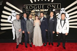 """HOLLYWOOD, CA - DECEMBER 10: (L-R) Actors Ben Mendelsohn, Mads Mikkelsen, Riz Ahmed, Felicity Jones, Diego Luna, Alan Tudyk, and Donnie Yen attend The World Premiere of Lucasfilm's highly anticipated, first-ever, standalone Star Wars adventure, """"Rogue One: A Star Wars Story"""" at the Pantages Theatre on December 10, 2016 in Hollywood, California. (Photo by Jesse Grant/Getty Images for Disney) *** Local Caption *** Ben Mendelsohn; Riz Ahmed; Felicity Jones; Diego Luna; Donnie Yen; Mads Mikkelsen; Alan Tudyk"""