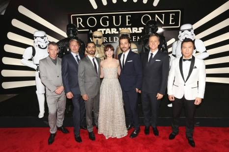"HOLLYWOOD, CA - DECEMBER 10: (L-R) Actors Ben Mendelsohn, Mads Mikkelsen, Riz Ahmed, Felicity Jones, Diego Luna, Alan Tudyk, and Donnie Yen attend The World Premiere of Lucasfilm's highly anticipated, first-ever, standalone Star Wars adventure, ""Rogue One: A Star Wars Story"" at the Pantages Theatre on December 10, 2016 in Hollywood, California. (Photo by Jesse Grant/Getty Images for Disney) *** Local Caption *** Ben Mendelsohn; Riz Ahmed; Felicity Jones; Diego Luna; Donnie Yen; Mads Mikkelsen; Alan Tudyk"
