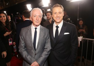 """HOLLYWOOD, CA - DECEMBER 10: Actors Anthony Daniels (L) and Alan Tudyk attend The World Premiere of Lucasfilm's highly anticipated, first-ever, standalone Star Wars adventure, """"Rogue One: A Star Wars Story"""" at the Pantages Theatre on December 10, 2016 in Hollywood, California. (Photo by Jesse Grant/Getty Images for Disney) *** Local Caption *** Anthony Daniels; Alan Tudyk"""