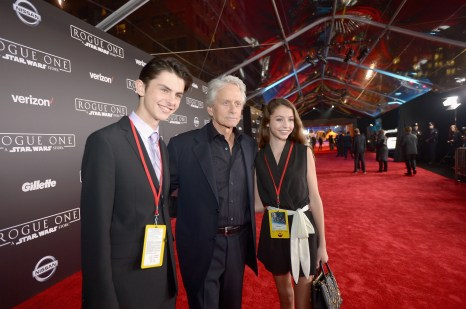 "HOLLYWOOD, CA - DECEMBER 10: (L-R) Dylan Michael Douglas, Michael Douglas and Carys Zeta-Douglas attend The World Premiere of Lucasfilm's highly anticipated, first-ever, standalone Star Wars adventure, ""Rogue One: A Star Wars Story"" at the Pantages Theatre on December 10, 2016 in Hollywood, California. (Photo by Charley Gallay/Getty Images for Disney) *** Local Caption *** Michael Douglas; Dylan Michael Douglas; Carys Zeta-Douglas"