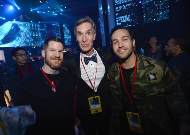 """HOLLYWOOD, CA - DECEMBER 10: TV personality Bill Nye (C) poses with musicians Andy Hurley (L) and Pete Wentz (R) of Fall Out Boy at The World Premiere of Lucasfilm's highly anticipated, first-ever, standalone Star Wars adventure, """"Rogue One: A Star Wars Story"""" at the Pantages Theatre on December 10, 2016 in Hollywood, California. (Photo by Charley Gallay/Getty Images for Disney) *** Local Caption *** Bill Nye; Pete Wentz; Andy Hurley"""