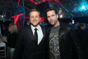 """HOLLYWOOD, CA - DECEMBER 10: Actors Alan Tudyk (L) and Dane Cook attend The World Premiere of Lucasfilm's highly anticipated, first-ever, standalone Star Wars adventure, """"Rogue One: A Star Wars Story"""" at the Pantages Theatre on December 10, 2016 in Hollywood, California. (Photo by Jesse Grant/Getty Images for Disney) *** Local Caption *** Alan Tudyk; Dane Cook"""