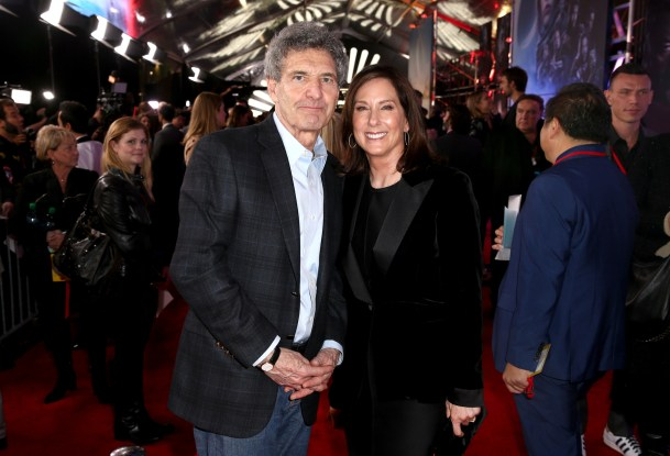 """HOLLYWOOD, CA - DECEMBER 10: The Walt Disney Studios Chairman Alan Horn (L) and producer Kathleen Kennedy attend The World Premiere of Lucasfilm's highly anticipated, first-ever, standalone Star Wars adventure, """"Rogue One: A Star Wars Story"""" at the Pantages Theatre on December 10, 2016 in Hollywood, California. (Photo by Joe Scarnici/Getty Images for Disney) *** Local Caption *** Alan Horn; Kathleen Kennedy"""