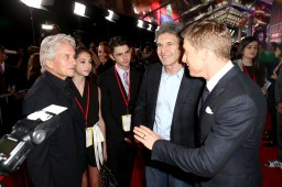 """HOLLYWOOD, CA - DECEMBER 10: (L-R) Actor Michael Douglas, The Walt Disney Studios Chairman Alan Horn, and actor Alan Tudyk attend The World Premiere of Lucasfilm's highly anticipated, first-ever, standalone Star Wars adventure, """"Rogue One: A Star Wars Story"""" at the Pantages Theatre on December 10, 2016 in Hollywood, California. (Photo by Joe Scarnici/Getty Images for Disney) *** Local Caption *** Michael Douglas; Alan Tudyk; Alan Horn"""