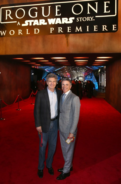 "HOLLYWOOD, CA - DECEMBER 10: The Walt Disney Studios Chairman Alan Horn (L) and The Walt Disney Studios Marketing President Ricky Strauss attend The World Premiere of Lucasfilm's highly anticipated, first-ever, standalone Star Wars adventure, ""Rogue One: A Star Wars Story"" at the Pantages Theatre on December 10, 2016 in Hollywood, California. (Photo by Joe Scarnici/Getty Images for Disney) *** Local Caption *** Alan Horn; Ricky Strauss"