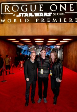 """HOLLYWOOD, CA - DECEMBER 10: The Walt Disney Studios President Alan Bergman (L) and family attend The World Premiere of Lucasfilm's highly anticipated, first-ever, standalone Star Wars adventure, """"Rogue One: A Star Wars Story"""" at the Pantages Theatre on December 10, 2016 in Hollywood, California. (Photo by Joe Scarnici/Getty Images for Disney) *** Local Caption *** Alan Bergman"""