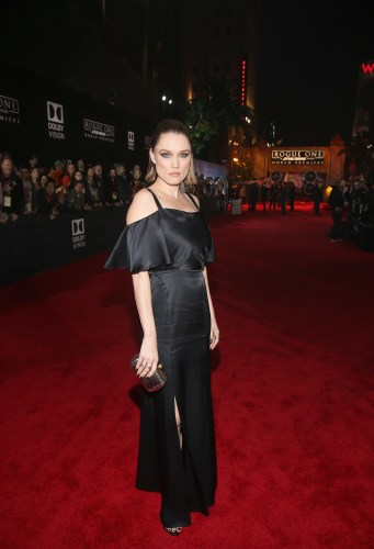 """HOLLYWOOD, CA - DECEMBER 10: Actress Clare Grant attends The World Premiere of Lucasfilm's highly anticipated, first-ever, standalone Star Wars adventure, """"Rogue One: A Star Wars Story"""" at the Pantages Theatre on December 10, 2016 in Hollywood, California. (Photo by Jesse Grant/Getty Images for Disney) *** Local Caption *** Clare Grant"""