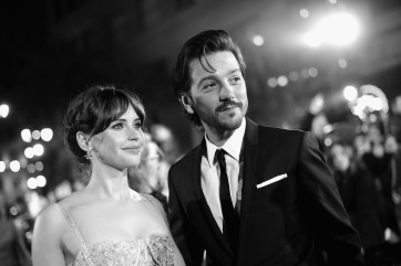 "HOLLYWOOD, CA - DECEMBER 10: (EDITORS NOTE: Image has been shot in black and white. Color version not available.) Actors Felicity Jones (L) and Diego Luna attend The World Premiere of Lucasfilm's highly anticipated, first-ever, standalone Star Wars adventure, ""Rogue One: A Star Wars Story"" at the Pantages Theatre on December 10, 2016 in Hollywood, California. (Photo by Charley Gallay/Getty Images for Disney) *** Local Caption *** Diego Luna; Felicity Jones"