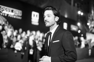 """HOLLYWOOD, CA - DECEMBER 10: (EDITORS NOTE: Image has been shot in black and white. Color version not available.) Actor Diego Luna attends The World Premiere of Lucasfilm's highly anticipated, first-ever, standalone Star Wars adventure, """"Rogue One: A Star Wars Story"""" at the Pantages Theatre on December 10, 2016 in Hollywood, California. (Photo by Charley Gallay/Getty Images for Disney) *** Local Caption *** Diego Luna"""