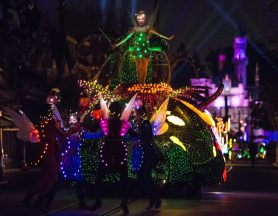 A COLORFUL HOMECOMING Ð Tinker Bell dazzles in the night on a colorful garden float during the Main Street Electrical Parade at Disneyland park. The Main Street Electrical Parade will run for a limited-time, through June 18, 2017, at Disneyland park. (Scott Brinegar/Disneyland)