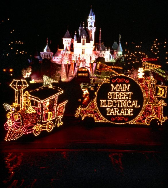 """MAIN STREET ELECTRICAL PARADE RETURNS TO DISNEYLAND RESORT – Brought to light in the early 1970s, the Main Street Electrical Parade helped establish a Disney Parks reputation for innovative, trend-setting live entertainment. As floats illuminate the parade route, this vibrant spectacular brings a variety of Disney animated feature films to life with approximately half a million twinkling lights. The parade's iconic musical theme, the electrically synthesized """"Baroque Hoedown,"""" is a beloved fan-favorite interwoven with classic Disney themes. The Main Street Electrical Parade will celebrate a colorful homecoming at Disneyland Park beginning Friday, Jan. 20, 2017. (Disneyland Resort)"""