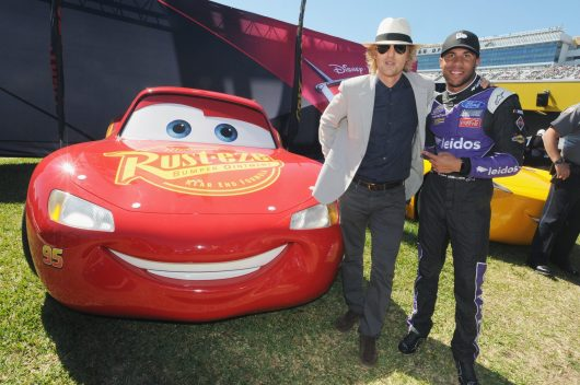 "DAYTONA BEACH, FL - FEBRUARY 26: Grand Marshal Owen Wilson, voice of Lightning McQueen in ""Cars 3"" poses with NASCAR racer Bubba Wallace for the 59th Annual DAYTONA 500 at Daytona International Speedway on February 26, 2017 in Daytona Beach, Florida. (Photo by Gerardo Mora/Getty Images for Disney) *** Local Caption *** Owen Wilson; Bubba Wallace"