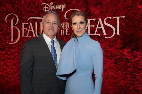 "David Hoberman and Celine Dion arrive for the world premiere of Disney's live-action ""Beauty and the Beast"" at the El Capitan Theatre in Hollywood as the cast and filmmakers continue their worldwide publicity tour. (Photo: Alex J. Berliner/ABImages)"