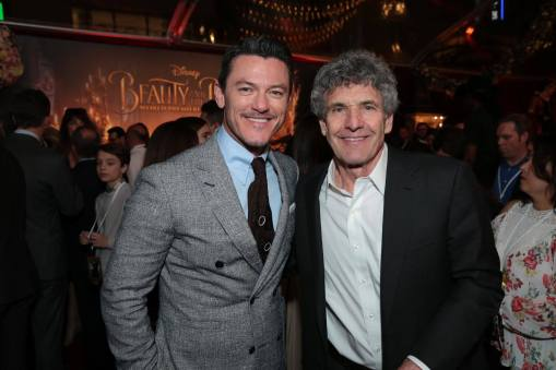 """Luke Evans and Alan Horn arrive for the world premiere of Disney's live-action """"Beauty and the Beast"""" at the El Capitan Theatre in Hollywood as the cast and filmmakers continue their worldwide publicity tour. (Photo: Alex J. Berliner/ABImages)"""