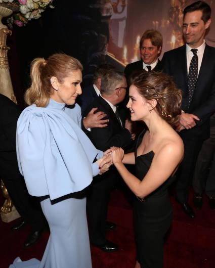 """LOS ANGELES, CA - MARCH 02: Singer CÈline Dion and actress Emma Watson arrive for the world premiere of Disney's live-action """"Beauty and the Beast"""" at the El Capitan Theatre in Hollywood as the cast and filmmakers continue their worldwide publicity tour on March 2, 2017 in Los Angeles, California. (Photo by Jesse Grant/Getty Images for Disney) *** Local Caption *** CÈline Dion; Emma Watson"""