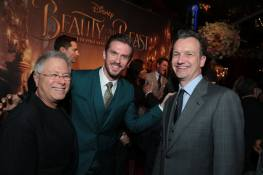 "Alan Menken, Dan Stevens and Shawn Bailey arrive for the world premiere of Disney's live-action ""Beauty and the Beast"" at the El Capitan Theatre in Hollywood as the cast and filmmakers continue their worldwide publicity tour. (Photo: Alex J. Berliner/ABImages)"