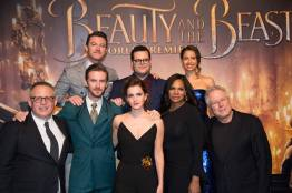 "Luke Evans, Josh Gad, Gugu Mbatha-Raw, Bill Condon, Dan Stevens, Emma Watson, Audra McDonald and Alan Menken arrive for the world premiere of Disney's live-action ""Beauty and the Beast"" at the El Capitan Theatre in Hollywood as the cast and filmmakers continue their worldwide publicity tour. .(Photo: Alex J. Berliner/ABImages)"