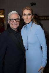 """Michel Dondalinger Dion and Celine Dion arrive for the world premiere of Disney's live-action """"Beauty and the Beast"""" at the El Capitan Theatre in Hollywood as the cast and filmmakers continue their worldwide publicity tour. .(Photo: Alex J. Berliner/ABImages)"""
