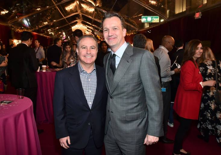 """LOS ANGELES, CA - MARCH 02: Walt Disney Studios President Alan Bergman (L) and President of Walt Disney Studios Motion Picture Production, Sean Bailey arrive for the world premiere of Disney's live-action """"Beauty and the Beast"""" at the El Capitan Theatre in Hollywood as the cast and filmmakers continue their worldwide publicity tour on March 2, 2017 in Los Angeles, California. (Photo by Alberto E. Rodriguez/Getty Images for Disney) *** Local Caption *** Alan Bergman; Sean Bailey"""