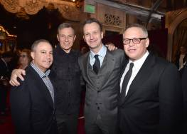 """LOS ANGELES, CA - MARCH 02: (L-R) Walt Disney Studios President Alan Bergman, The Walt Disney Company Chairman and CEO Bob Iger, President of Walt Disney Studios Motion Picture Production, Sean Bailey and Director Bill Condon arrive for the world premiere of Disney's live-action """"Beauty and the Beast"""" at the El Capitan Theatre in Hollywood as the cast and filmmakers continue their worldwide publicity tour on March 2, 2017 in Los Angeles, California. (Photo by Alberto E. Rodriguez/Getty Images for Disney) *** Local Caption *** Alan Bergman; Bob Iger; Sean Bailey; Bill Condon"""