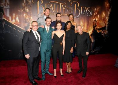 """LOS ANGELES, CA - MARCH 02: (L-R top) Actors Luke Evans, Josh Gad and Gugu Mbatha-Raw (L-R bottom) Director Bill Condon, Actors Dan Stevens, Emma Watson, Audra McDonald and Composer Alan Menken arrive for the world premiere of Disney's live-action """"Beauty and the Beast"""" at the El Capitan Theatre in Hollywood as the cast and filmmakers continue their worldwide publicity tour on March 2, 2017 in Los Angeles, California. (Photo by Jesse Grant/Getty Images for Disney) *** Local Caption *** Luke Evans; Josh Gad; Gugu Mbatha-Raw; Bill Condon; Dan Stevens; Emma Watson; Audra McDonald; Alan Menken"""
