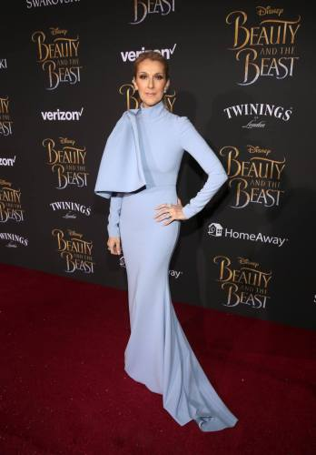 "LOS ANGELES, CA - MARCH 02: Singer Celine Dion arrives for the world premiere of Disney's live-action ""Beauty and the Beast"" at the El Capitan Theatre in Hollywood as the cast and filmmakers continue their worldwide publicity tour on March 2, 2017 in Los Angeles, California. (Photo by Jesse Grant/Getty Images for Disney) *** Local Caption *** Celine Dion"