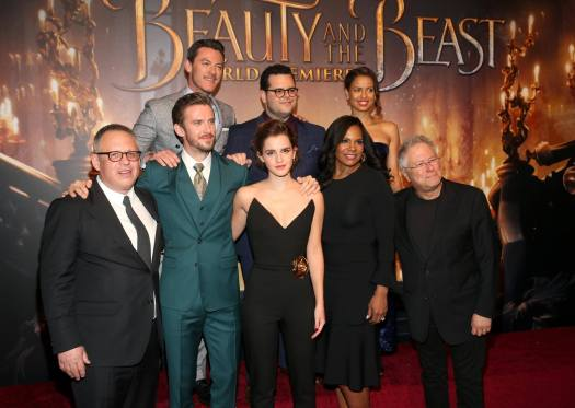 "LOS ANGELES, CA - MARCH 02: (L-R top) Actors Luke Evans, Josh Gad and Gugu Mbatha-Raw (L-R bottom) Director Bill Condon, Actors Dan Stevens, Emma Watson, Audra McDonald and Composer Alan Menken arrive for the world premiere of Disney's live-action ""Beauty and the Beast"" at the El Capitan Theatre in Hollywood as the cast and filmmakers continue their worldwide publicity tour on March 2, 2017 in Los Angeles, California. (Photo by Jesse Grant/Getty Images for Disney) *** Local Caption *** Luke Evans; Josh Gad; Gugu Mbatha-Raw; Bill Condon; Dan Stevens; Emma Watson; Audra McDonald; Alan Menken"