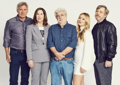 ORLANDO, FL - APRIL 13: Harrison Ford, Kathleen Kennedy, George Lucas, Billie Lourd and Mark Hamill attend the 40 YEARS OF STAR WARS PANEL during the 2017 STAR WARS CELEBRATION at Orange County Convention Center on April 13, 2017 in Orlando, Florida. (Photo by Gerardo Mora/Getty Images for Disney)