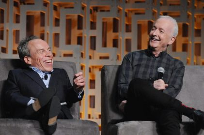 ORLANDO, FL - APRIL 13: Warwick Davis and Anthony Daniels attend the 40 YEARS OF STAR WARS PANEL during the 2017 STAR WARS CELEBRATION at Orange County Convention Center on April 13, 2017 in Orlando, Florida. (Photo by Gerardo Mora/Getty Images for Disney) *** Local Caption *** Warwick Davis, Anthony Daniels