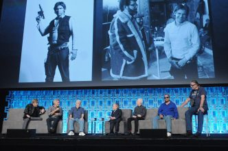 ORLANDO, FL - APRIL 13: Mark Hamill, Harrison Ford, George Lucas, Warwick Davis, Anthony Daniels, Billy Dee Williams and Peter Mayhew attend the 40 YEARS OF STAR WARS PANEL during the 2017 STAR WARS CELEBRATION at Orange County Convention Center on April 13, 2017 in Orlando, Florida. (Photo by Gerardo Mora/Getty Images for Disney) *** Local Caption *** Mark Hamill, Harrison Ford, George Lucas, Warwick Davis, Anthony Daniels, Billy Dee Williams, Peter Mayhew
