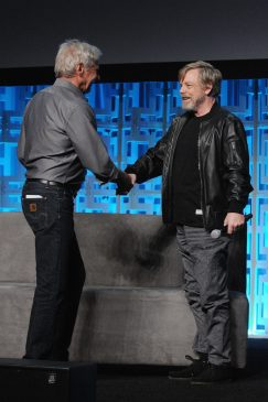 ORLANDO, FL - APRIL 13: Harrison Ford and Mark Hamill attend the 40 YEARS OF STAR WARS PANEL during the 2017 STAR WARS CELEBRATION at Orange County Convention Center on April 13, 2017 in Orlando, Florida. (Photo by Gerardo Mora/Getty Images for Disney) *** Local Caption *** Harrison Ford;Mark Hamill