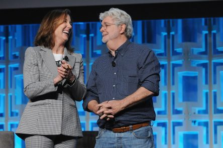 ORLANDO, FL - APRIL 13: Kathleen Kennedy and George Lucas attend the 40 YEARS OF STAR WARS PANEL during the 2017 STAR WARS CELEBRATION at Orange County Convention Center on April 13, 2017 in Orlando, Florida. (Photo by Gerardo Mora/Getty Images for Disney) *** Local Caption *** Kathleen Kennedy;George Lucas