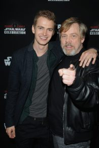 ORLANDO, FL - APRIL 13: Hayden Christensen and Mark Hamill attend the 40 YEARS OF STAR WARS PANEL during the 2017 STAR WARS CELEBRATION at Orange County Convention Center on April 13, 2017 in Orlando, Florida. (Photo by Gerardo Mora/Getty Images for Disney) *** Local Caption *** Hayden Christensen, Mark Hamill