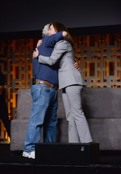 ORLANDO, FL - APRIL 13: George Lucas and Kathleen Kennedy attend the 40 YEARS OF STAR WARS PANEL during the 2017 STAR WARS CELEBRATION at Orange County Convention Center on April 13, 2017 in Orlando, Florida. (Photo by Gerardo Mora/Getty Images for Disney) *** Local Caption *** George Lucas, Kathleen Kennedy